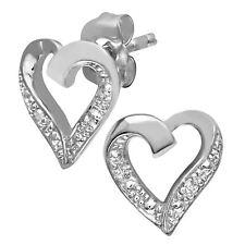 Revoni Women 9ct White Gold 0.01ct Diamond Heart Earrings of 1gram Weight