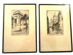 Pair of Antique 1920's Framed Etching Pictures of Paris by Leon Verdier