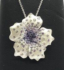 Sterling Silver 925 Enamel Matte Floating Scattered CZ Tanzanite Flower Necklace