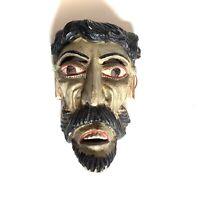 Folk Art Small Mexican Bearded Green Mask