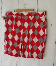 LOUD MOUTH Shorts GOLF Size 42 Cotton Lycra Walking RED WHITE & GRAY ARGYLE
