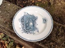"""antike St Denis Platte, """"Blick aus dem Fenster"""", Frankreich, nachtblau, Schwein"""