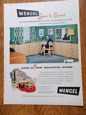 1953 Mengel Furniture Ad  Sun 'n Sand Oak Group Bedroom Dining Room Theme