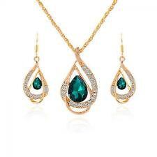 Crystal Chain Earring Jewelry Sets 18k Gold Plated Necklace Green