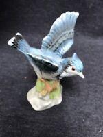 Vintage Brinn's Ceramic Porcelain Blue Jay Figurine Bird