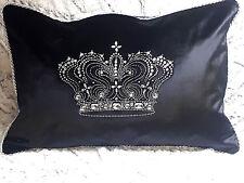 """Dekokissen,""""Viktoria"""",Samt,Schwarz,Strasssteine,Krone,40x60cm,Elegant-Luxuriös"""