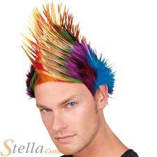 Adulto multicolor PINCHO MICRO Punk Rockero Peluca Arcoiris Accesorio de disfraz
