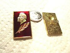 Russian Lapel Pin of Lenin -- Gold Color on Red  - very nice