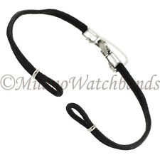 Hadley Roma Black Cord Bracelet Silver Tone Clasp & Safety Chain Band LONG 1022