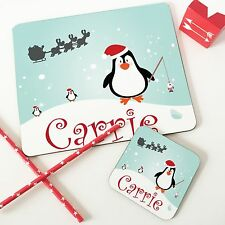 Christmas Personalised Wooden Glossy Penguin Placemat & Coaster Set for Kids