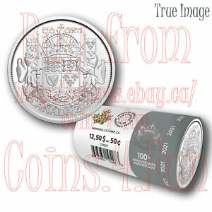 2021 100th Anniversary of Canada's Coat of Arms 25X50 cent LE Special Wrap Roll