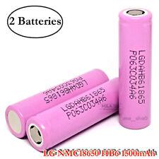 2x LG NMC 18650 HB6 1500mAh 30A Rechargeable Flat Top High Drain 3.7V Battery