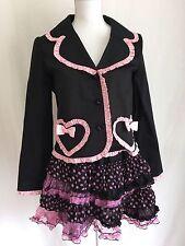 Body Line Lolita Jacket and Skirt Kawaii hime  Black ribbon Fril Dot dress