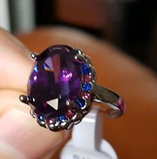 Womans Size J. 8.41CT Alexandrite & Tanzanite 925 Silver Plated Ring