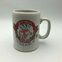 1994 WISCONSIN BADGERS Rose Bowl Bucky Coffee Cup Mug Vintage C1