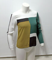 NEW! Zara Women's Colour Block Long Sleeve Top Blouse Shirt Tee XS black Green