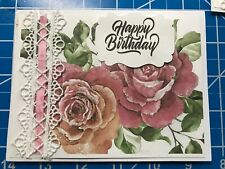 Birthday Card Rose Pink Lots Of Glitter Crochet Trim- The Perfect Card Handmade