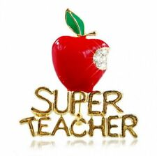 Christmas Super Teacher Letter Red Fruit Crystal Brooch Pin Women Jewelry Gift