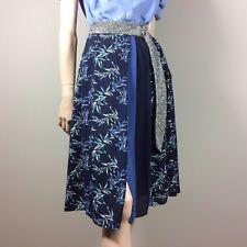 Eri & Ali by Anthropologie Ladies Skirt XS 34 36 Blue Silver Floral Trend Midi