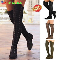 Women's Ladies Lace Up Zipper Boots Thigh High Over The Knee Stretch Party Shoes