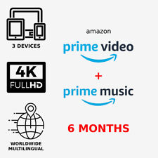 | 6 Months |Amazon Prime Video + Prime Music| Worldwide | Fast Delivery |