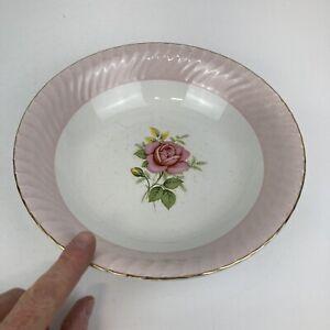 Large Vintage Barratt's Delphatic White Bowl w/ Pink Fluted Border & Rose & Gold