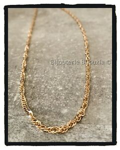 Chain Mesh Singapore 50CM Gold Plated 18 Carat 750/1000 Jewelry Women
