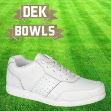 DEK Bowls Men's Leather Lawn Bowls Trainers White Comfort Lace Up Shoes