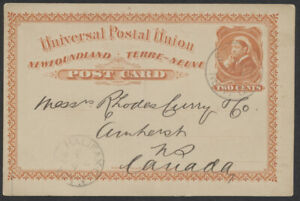 1897 Newfoundland #P4 2c UPU Card, St Johns to Amherst NS, Bank of Montreal