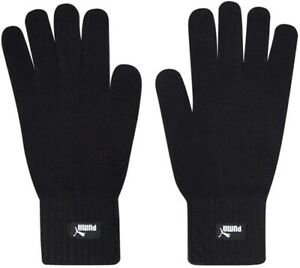 Puma Mens Gloves Knitted Touch Screen Running Sports Winter Warm Adults Black