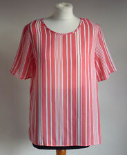 Casual Chic Bright Coral pink - White Stripe Pattern Summer Boxy Top/Blouse 12/M