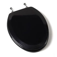 Deluxe Black Wood Elongated Toilet Seat - Chrome Hinges