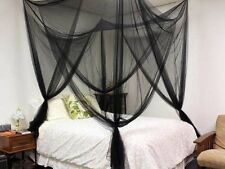 Black 4 Corner Post Bed Canopy Mosquito Net Full Netting Bedding Queen King Size