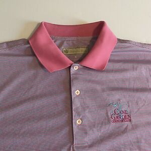 Donald Ross Mens XL Cane Garden CC Mens Blue/Pink Striped S/S Golf Polo Shirt