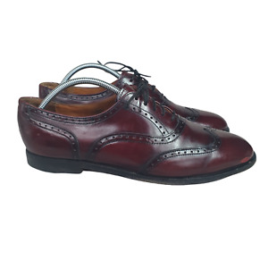 Cole Haan Wingtip Shoes Mens 10.5 D Burgundy Leather Dress Made in USA