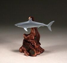 MAKO SHARK SCULPTURE New direct from JOHN PERRY 7in tall Grey Burlwood base art