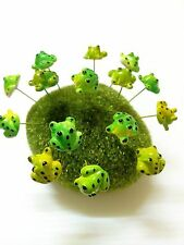 Miniature Dollhouse FAIRY GARDEN Accessories-5 Tiny Green color Frog Picks.