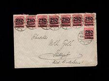 Germany Inflation Era Göppingen 1923 Overprint 250 Thousand Marks x 8 Cover 9o