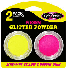 Glitter 2-Pack Neon Poppin' Pink and Screamin' Yellow  for glitter tattoos