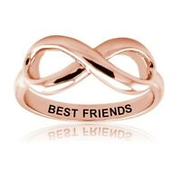 Sterling Silver 925 Rose Gold Plated Best Friends Infinity Friendship Ring