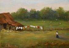 New ListingWash Day 5x7, original oil painting by Celene Farris, Maine farm laundry cows