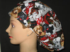 Surgical Scrub Hats/Caps Christmas puppies in santa hats and stockings