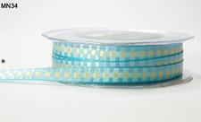 3/8 Inch WOVEN CHECK Ribbon - May Arts - MN34 - Aqua/Gold - 5 Yds.
