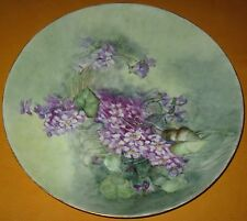 "VINTAGE HP FLORAL CHARGER WALL PLATE HAVILAND LIMOGES GILT TRIM 11 1/4""D CA1900"