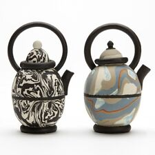 TWO STUDIO POTTERY MARBLED CLAY ROGER MICHELL TEAPOTS