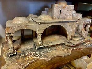 Presepe stile arabo palestinese capanna legno ceramica MMfecit natività