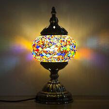 Mosaic Lamp-Handmade Turkish Lamp with Mosaic Lantern,Bronze Base Blue And Red