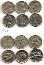 (F11) 6 x 5 CENTS_1924, 1936, 1942n, 1955 1967, 1978, Coins,Canada