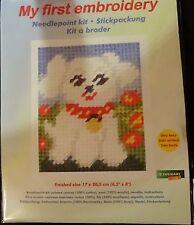 Stickpackung weißer Hund Gobelinstich Sticken für Kinder 9740