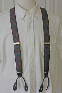 Classic CAS Germany Mens Suspenders Purple Blue Geometric  Leather Tabs Braces
